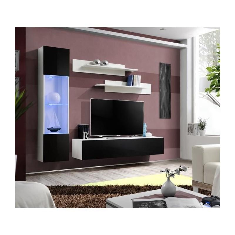 Ensemble complet meuble tv fly g3 design coloris blanc et noir bri - Meuble salon fly ...