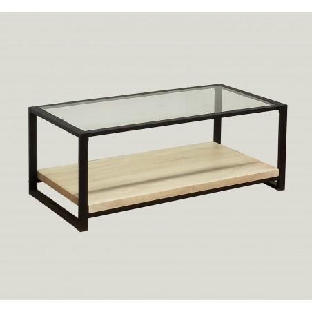 Table basse COLORADO plateau en verre, pieds en acier. Idéal pour votre salon.