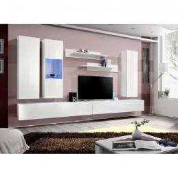 Meuble TV FLY E5 design, coloris blanc brillant. Meuble suspendu moderne et tendance pour votre salon.