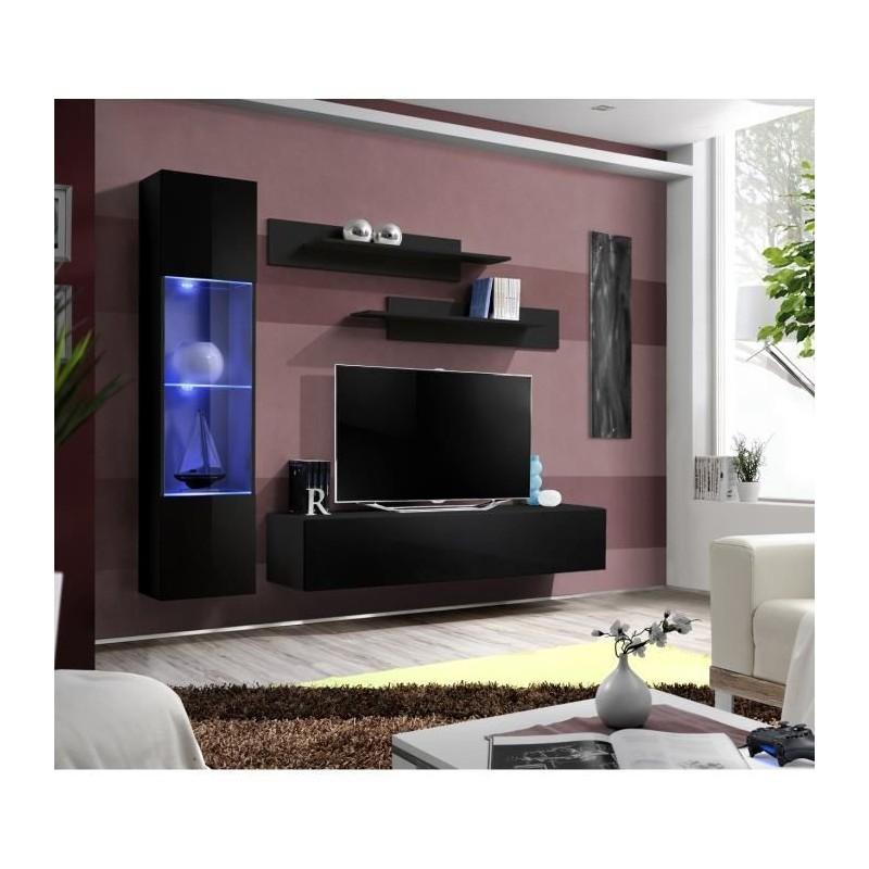 Meuble TV FLY G3 design, coloris noir brillant. Meuble suspendu moderne et tendance pour votre salon.