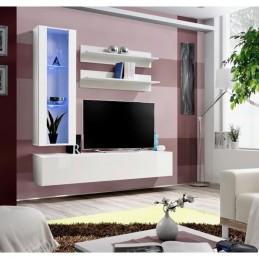 Meuble TV FLY H2 design, coloris blanc brillant. Meuble suspendu moderne et tendance pour votre salon.