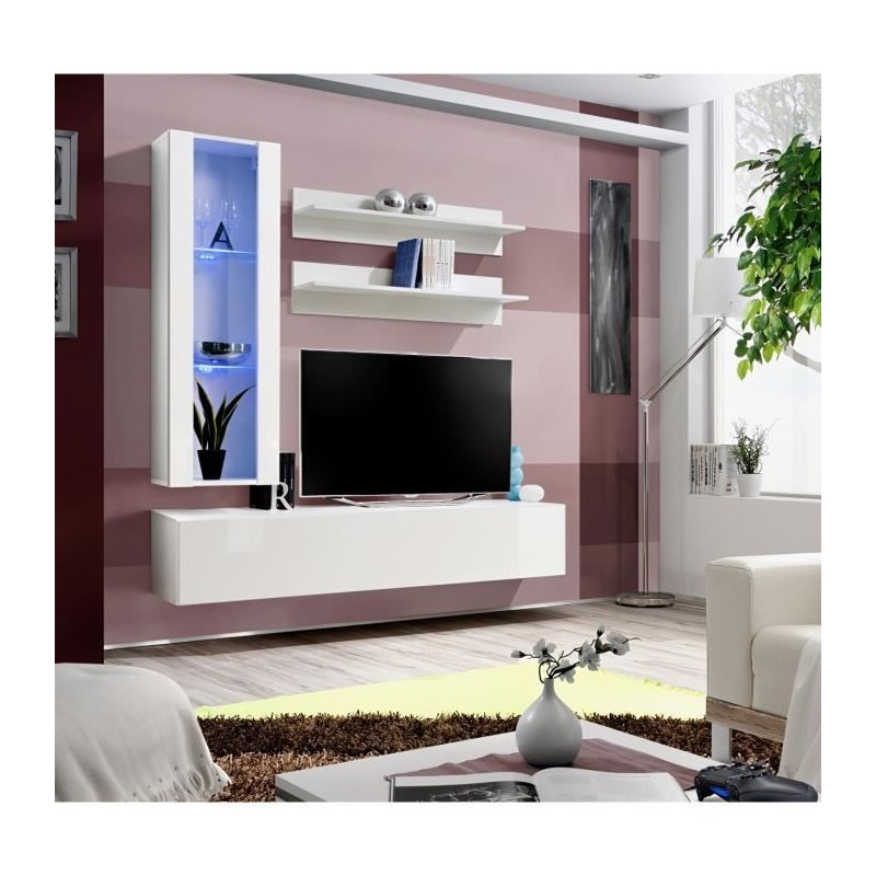 meuble tv fly h2 design coloris blanc brillant meuble suspendu moderne et tendance pour votre. Black Bedroom Furniture Sets. Home Design Ideas