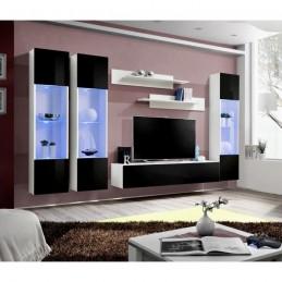 Meuble TV FLY C3 design, coloris blanc et noir brillant. Meuble suspendu moderne et tendance pour votre salon.
