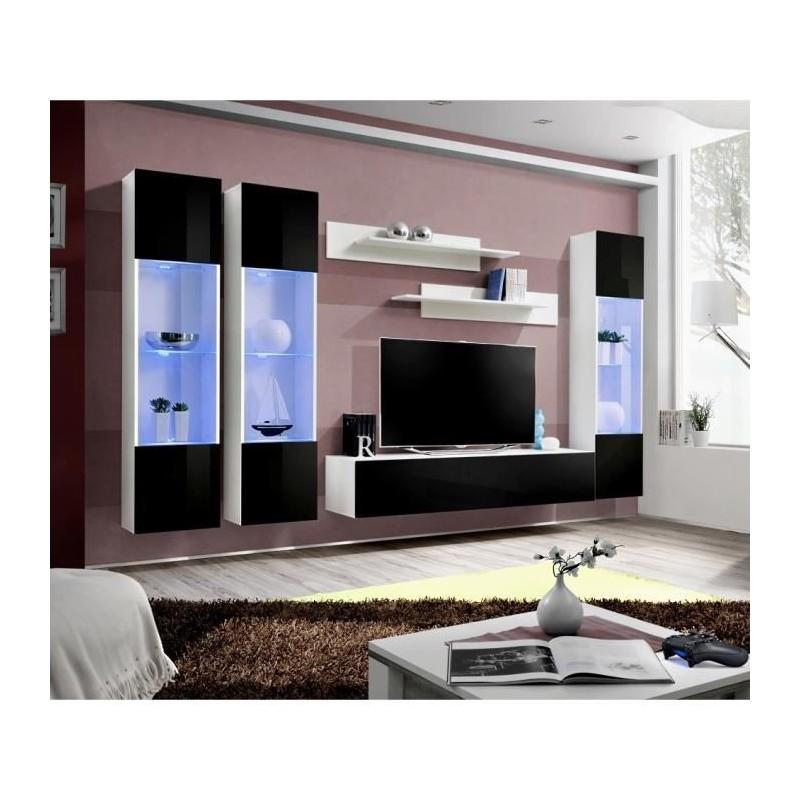 Ensemble complet meuble tv fly c3 design coloris blanc et noir bri - Meuble salon fly ...