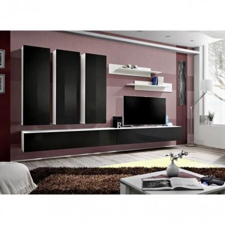 Meuble TV FLY E1 design, coloris blanc et noir noir brillant. Meuble suspendu moderne et tendance pour votre salon.