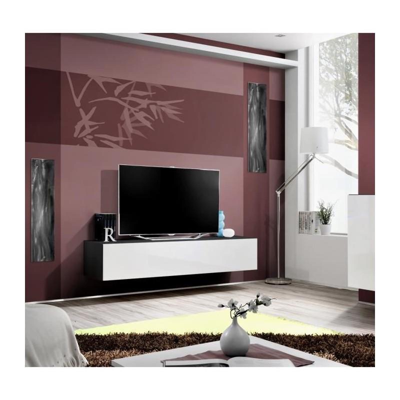 Meuble tv fly design coloris noir et blanc brillant meuble suspen for Meuble salon noir et blanc
