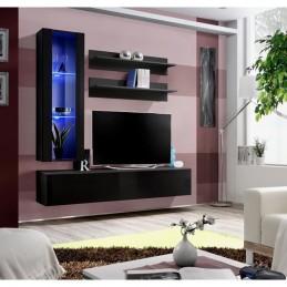 Meuble TV FLY H2 design, coloris noir brillant. Meuble suspendu moderne et tendance pour votre salon.