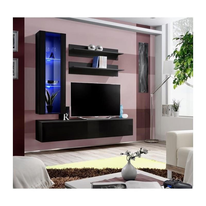 Salon Meuble Tv Fly H2 Design Coloris Noir Brillant Meuble Suspen