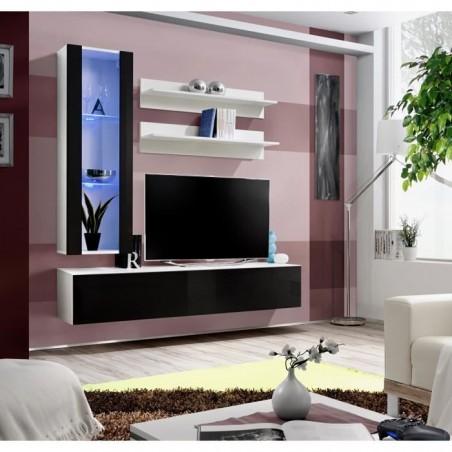 Meuble TV FLY H2 design, coloris blanc et noir brillant. Meuble suspendu moderne et tendance pour votre salon.
